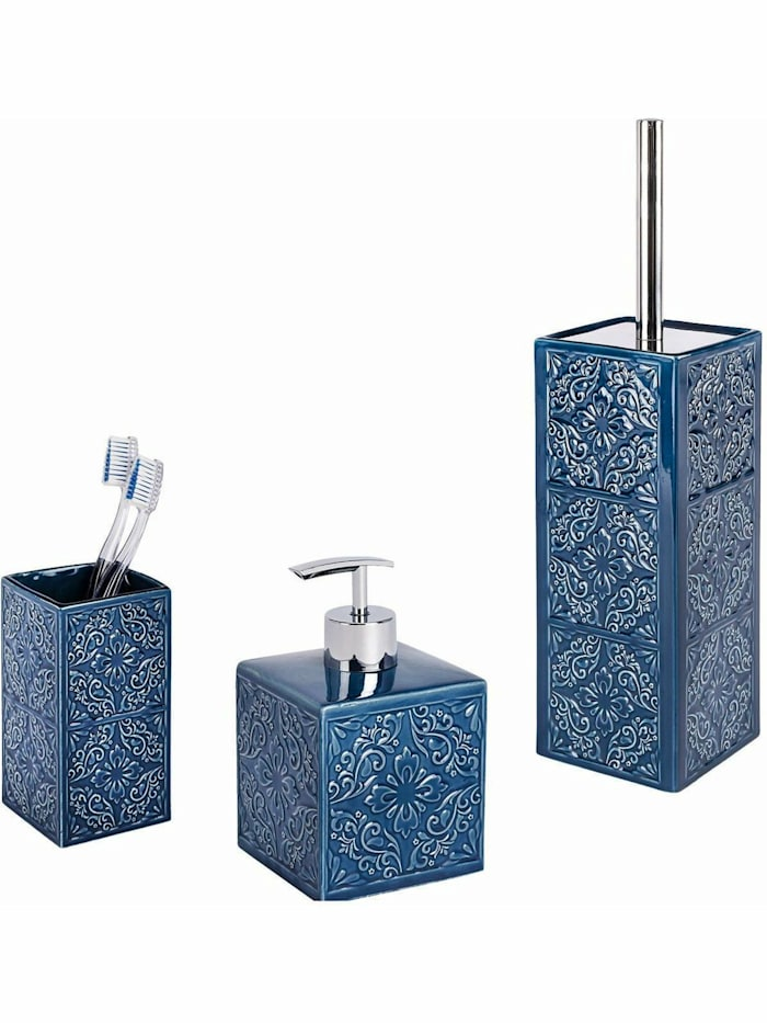 Image of Bad-Accessoires Set Cordoba Blau, 3-teilig, Zahnputzbecher, Seifenspender & WC-Garnitur Wenko Blau