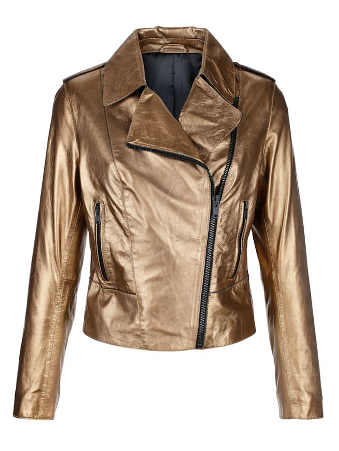 Shopping-Tipp: Lederjacke, Amy Vermont goldfarben