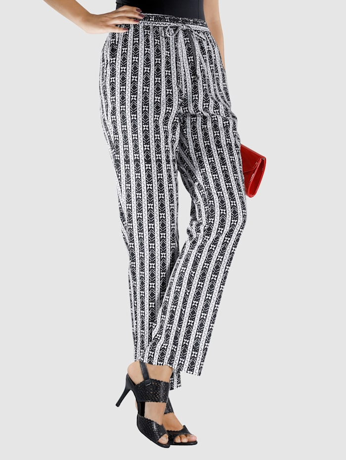 M. collection Broek  zwart/wit/gestreept
