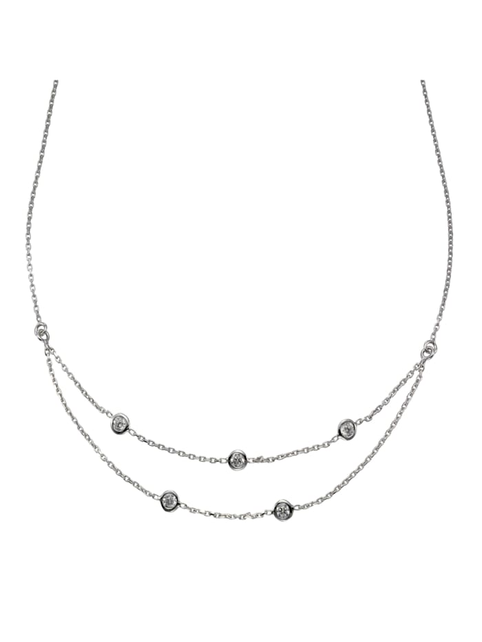 celesta - Collier 925/- Sterling Silber Zirkonia weiß 40,5cm Glänzend  Silbergrau