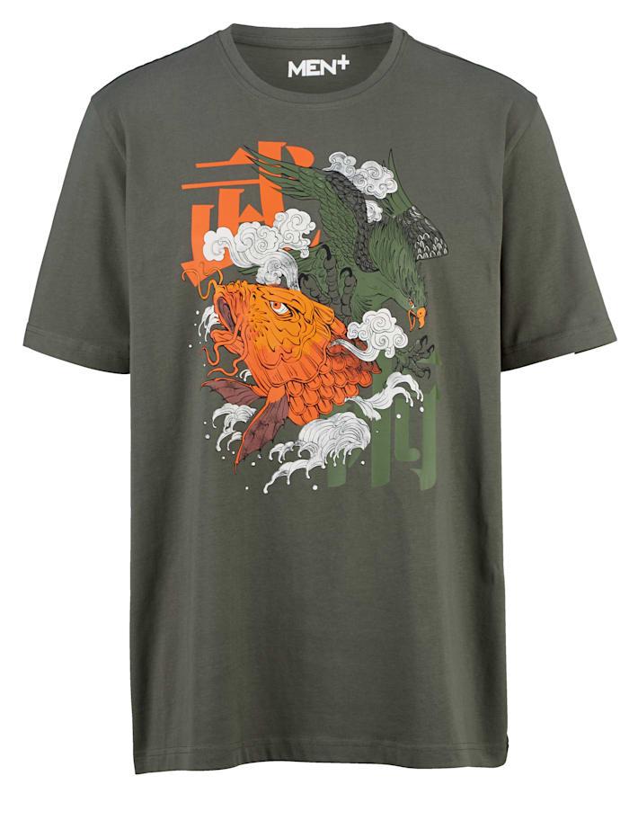 T-shirt Men Plus Donkergrijs::Oranje