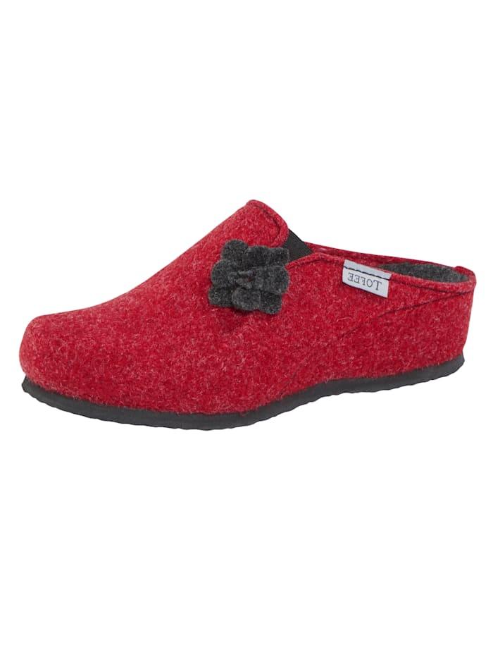 Platte hak van 1 cm. profielzool. de pantoffel heeft geen sluiting. de schoenmaat wordt aangegeven in ...