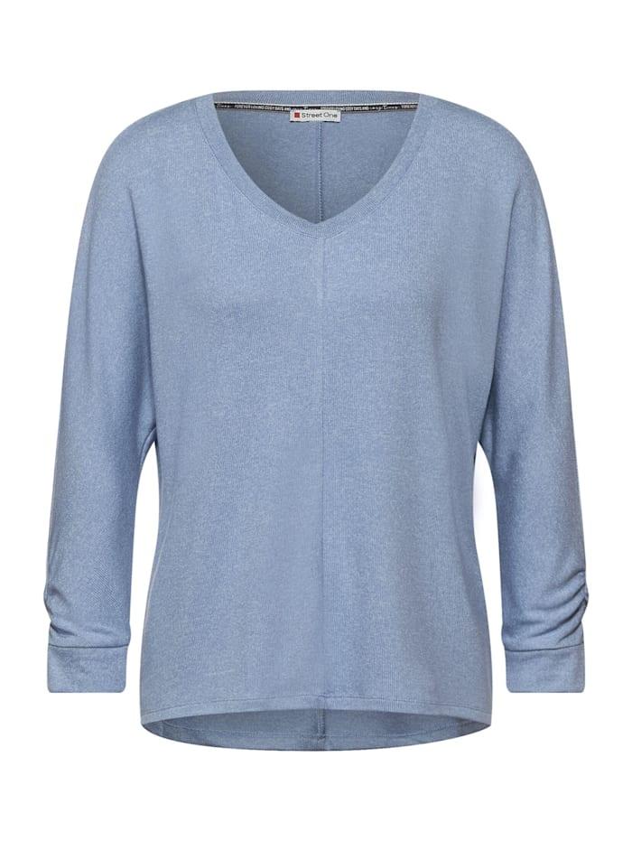 street one - Basic Shirt mit Raffung  seaside blue melange