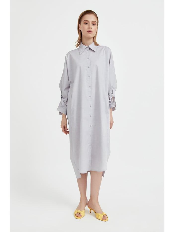 finn flare - Hemdblusenkleid mit lockerem Schnitt  brown