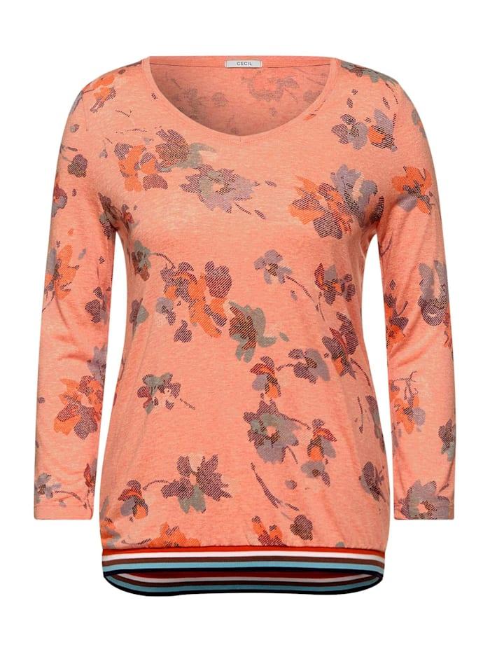 cecil - T-Shirt in Melange Optik  orange melange
