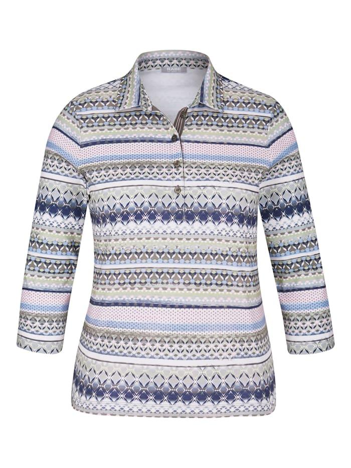 rabe - Polo-Shirt mit Allover-Muster und Knopfleiste  KHAKI