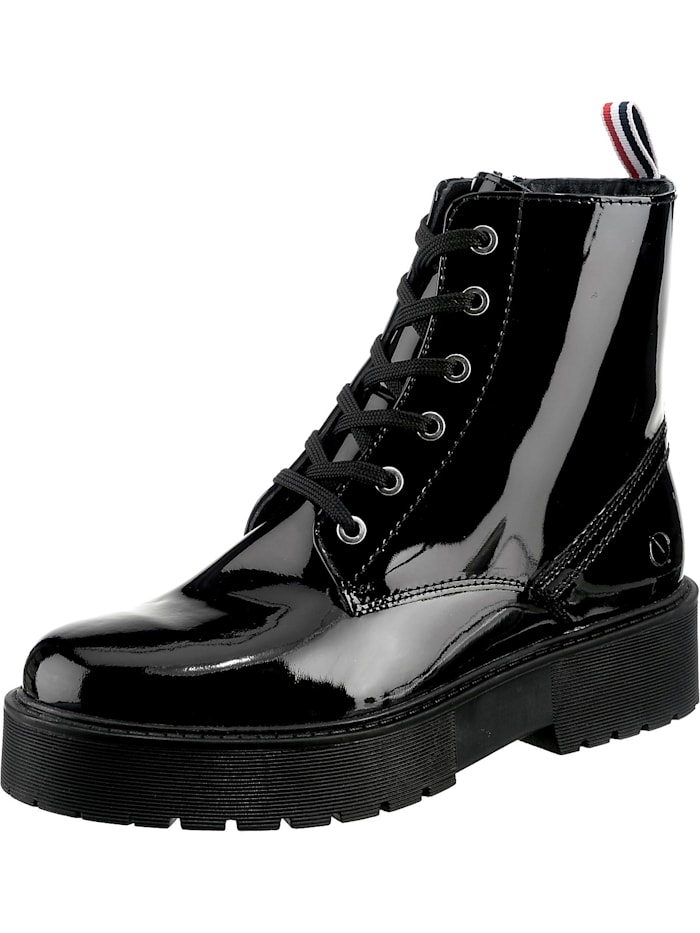 paul vestebro - Echtleder Plateau Boot Schnürstiefeletten  schwarz Modell 1