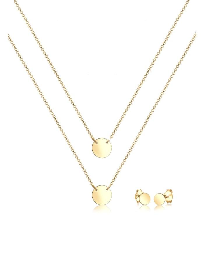 elli - Schmuckset Layer Kette Kreis Stecker Geo 925 Sterling Silber  Gold