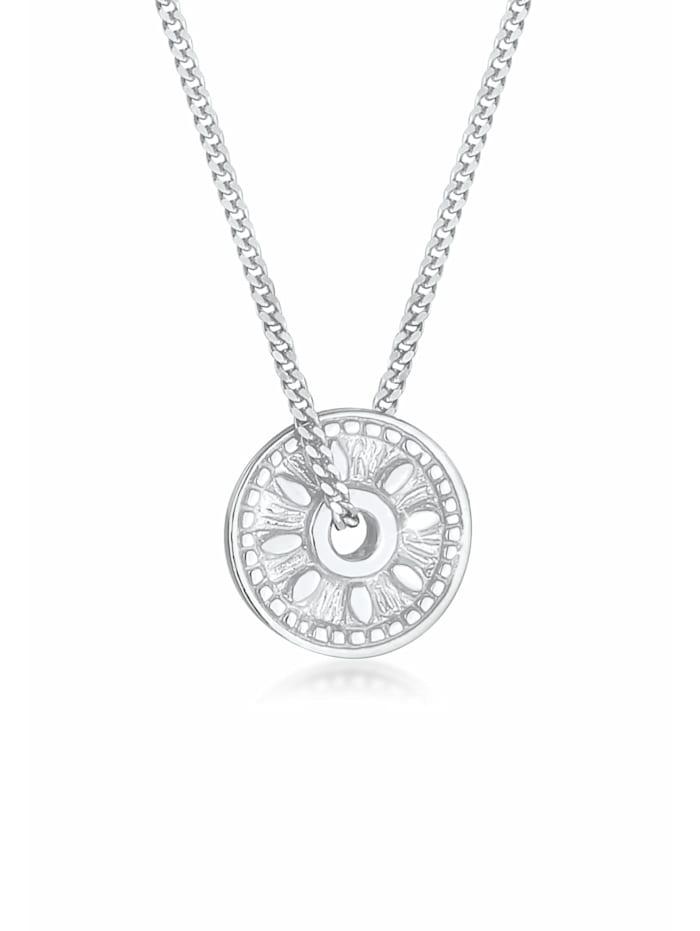 elli - Halskette Coin Münze Sonne Antik Vintage 925Er Silber  Silber