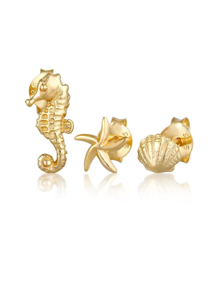 elli - Ohrringe Seestern Muschel Seepferd Stecker Set 925 Silber  Gold