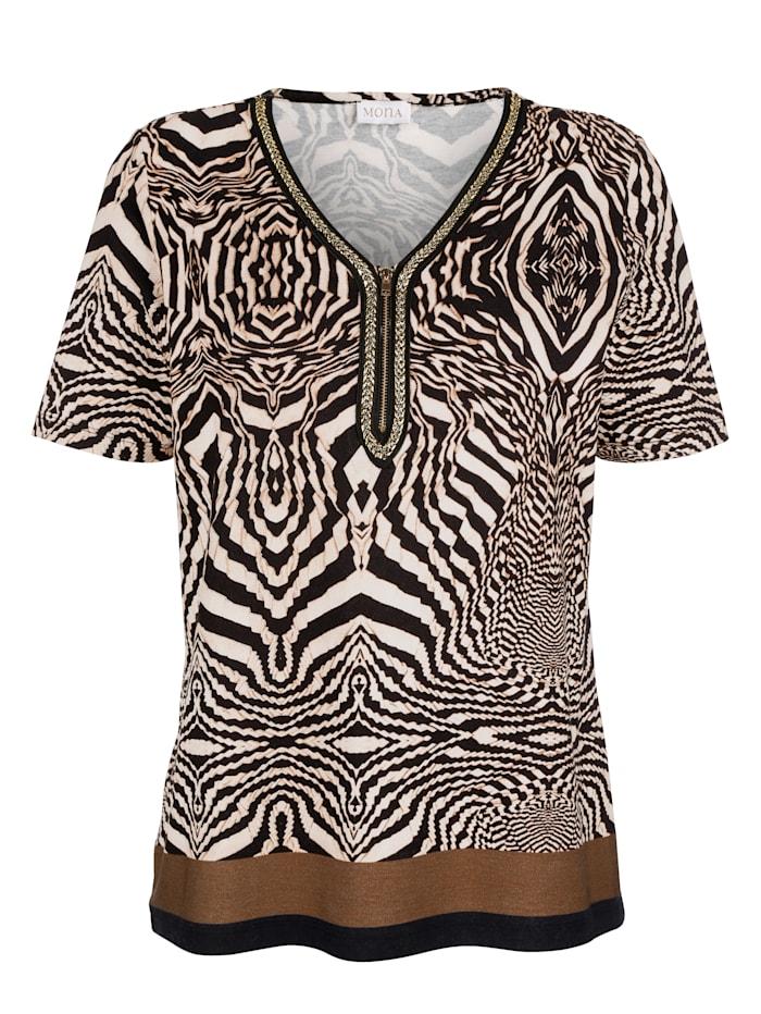 Shirt MONA Zwart::Beige::Bruin
