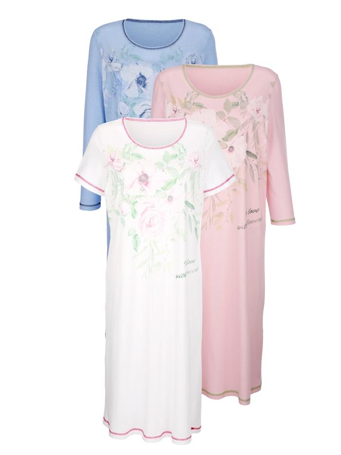 Nachthemden per 3 Harmony Wit::Roze::Lichtblauw