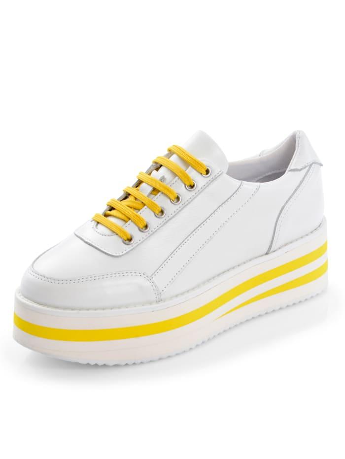 Sneaker Alba Moda Wit::Geel