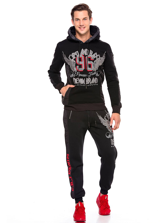 cipo & baxx - Hoodie Superior Team mit rockigem 3D-Print  Black