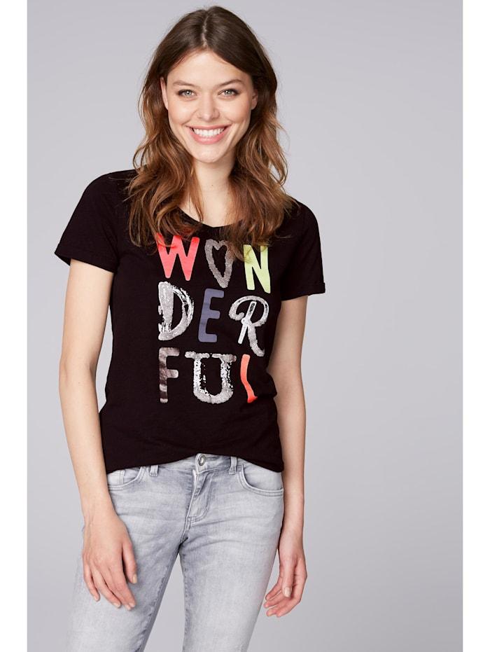 soccx - T-Shirt mit buntem Schriftzug  black