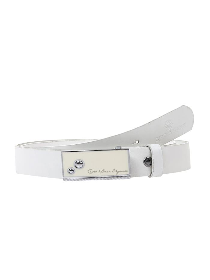 cipo & baxx - Ledergürtel mit stylischer Schließe  White