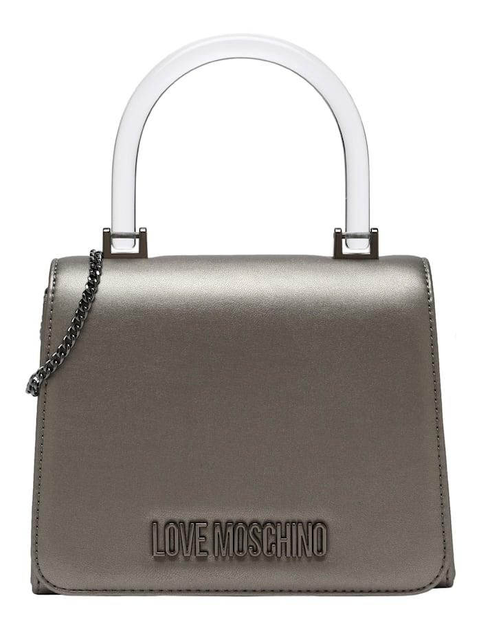 love moschino - Clutch mit transparentem Griff  silber