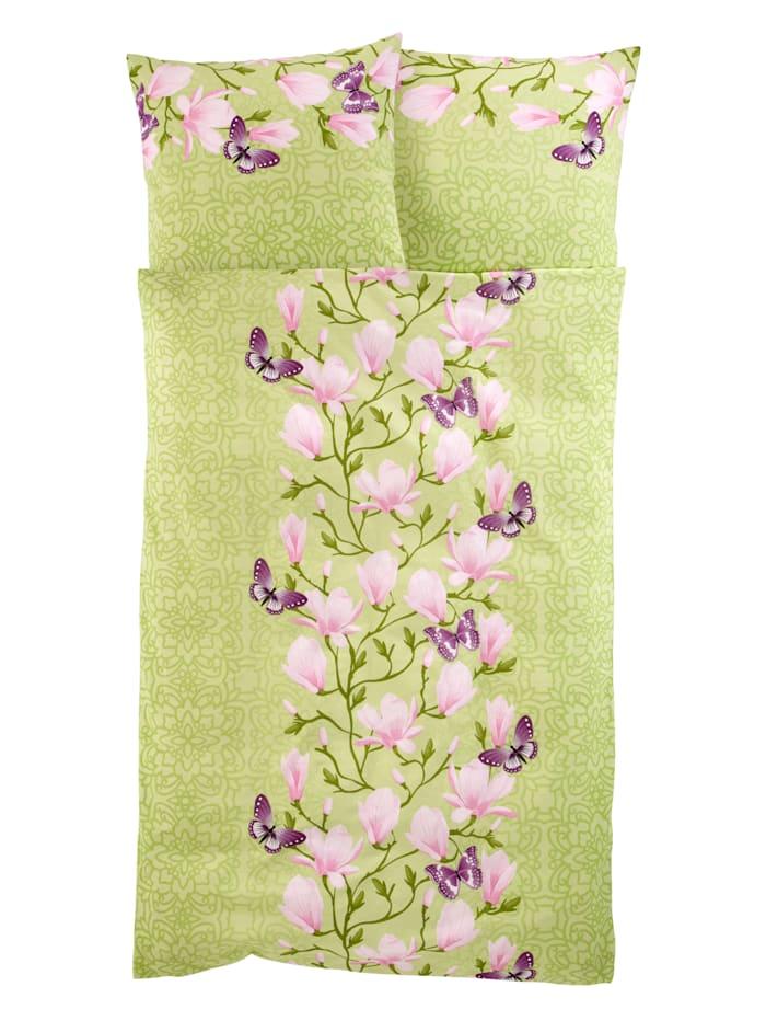 2-delige set bedlinnen Magnolia Webschatz groen