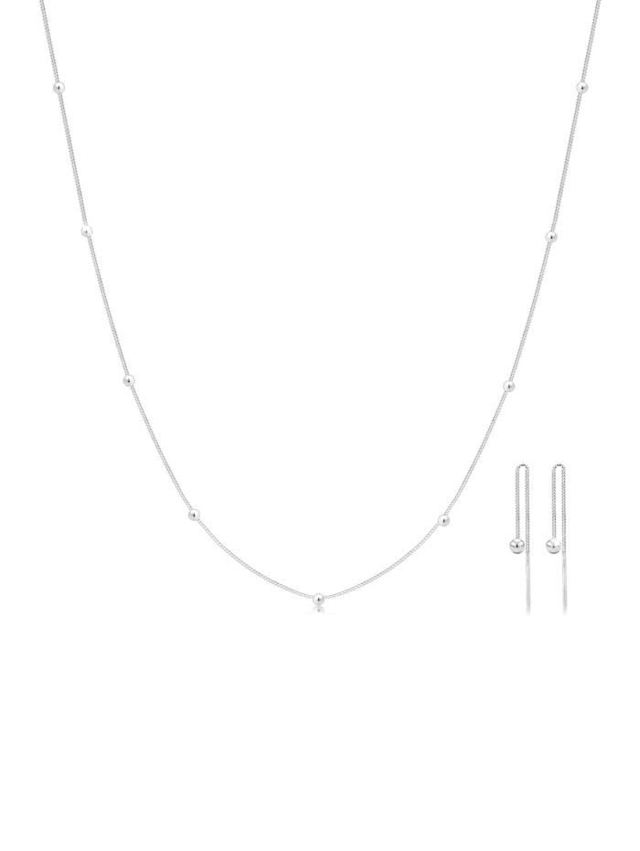 elli - Schmuckset Geo Kugel Minimal Basic 925 Sterling Silber Rond  Silber
