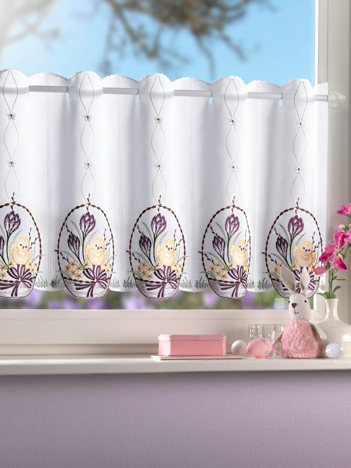 Scheibengardine 'Küken mit Osterei' Stickereien & Textilien bunt