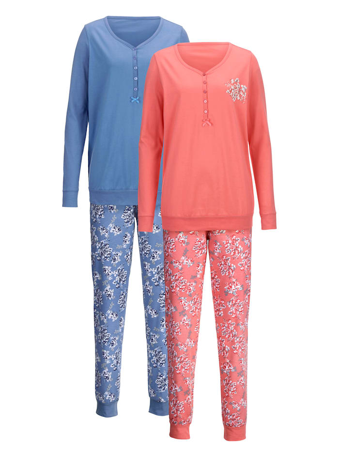Schlafanzug Harmony soft koralle azur