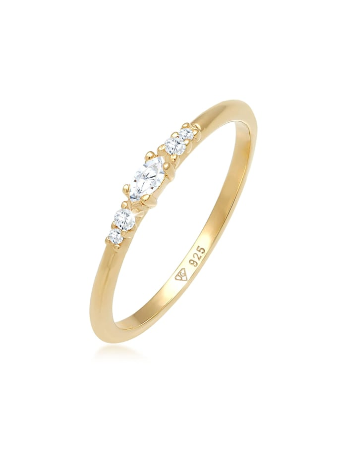 elli - Ring Zirkonia Marquise Elegant Verlobung 925 Silber  Gold