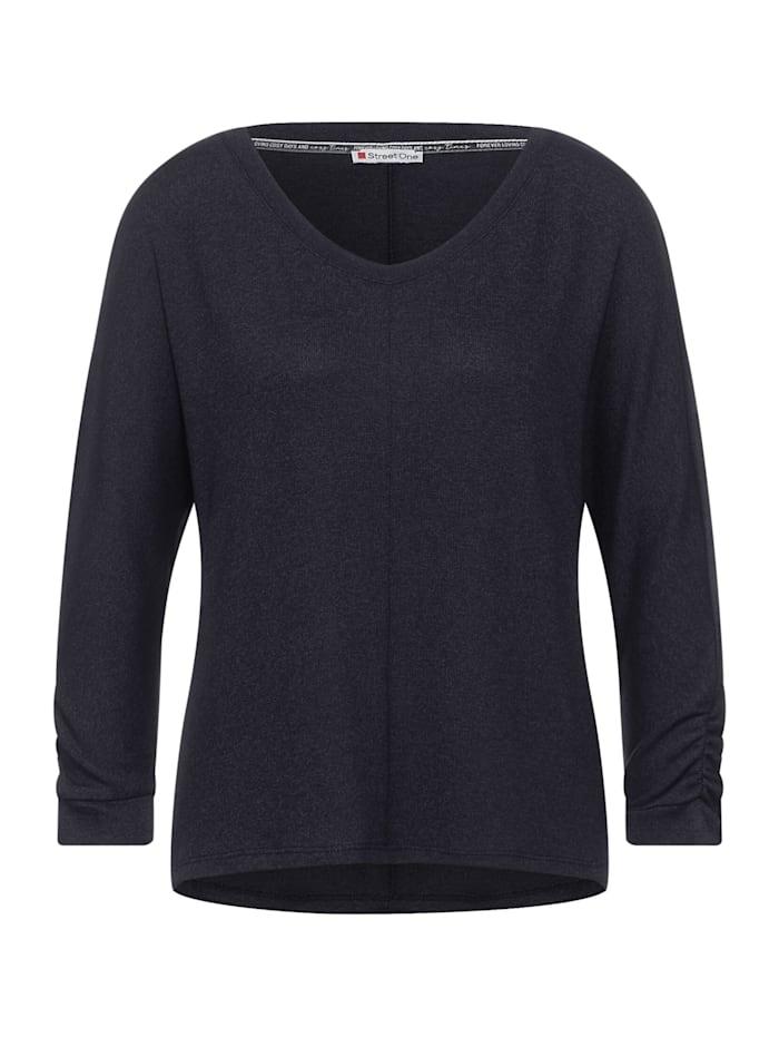 street one - Basic Shirt mit Raffung  dark vintage blue melange