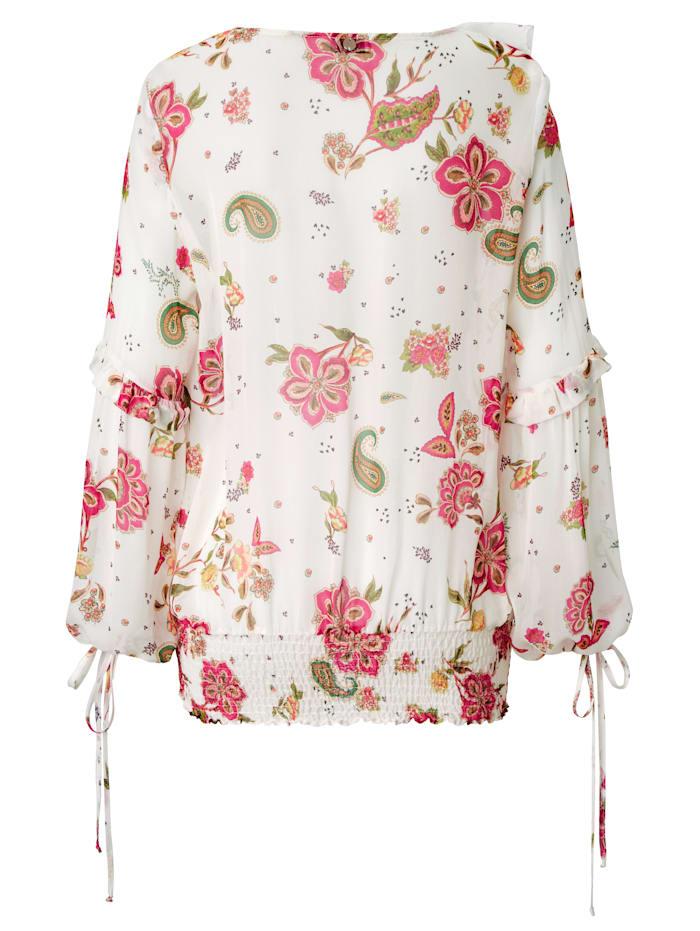 Artikel klicken und genauer betrachten! - Diese Bluse von LIU JO ist genau das Richtige, wenn Sie etwas im modischen Stil und mit optisch streckendem V-Ausschnitt suchen. Die Viskose sorgt für ein supersoftes Tragegefühl und macht sie zugleich besonders pflegeleicht. Besonders hervorzuheben sind die Rüschen. Mit schlichten Unitönen ist diese Bluse ein zeitloser und chicer Begleiter. 3/4-lange Ärmel mit Rüschen. | im Online Shop kaufen