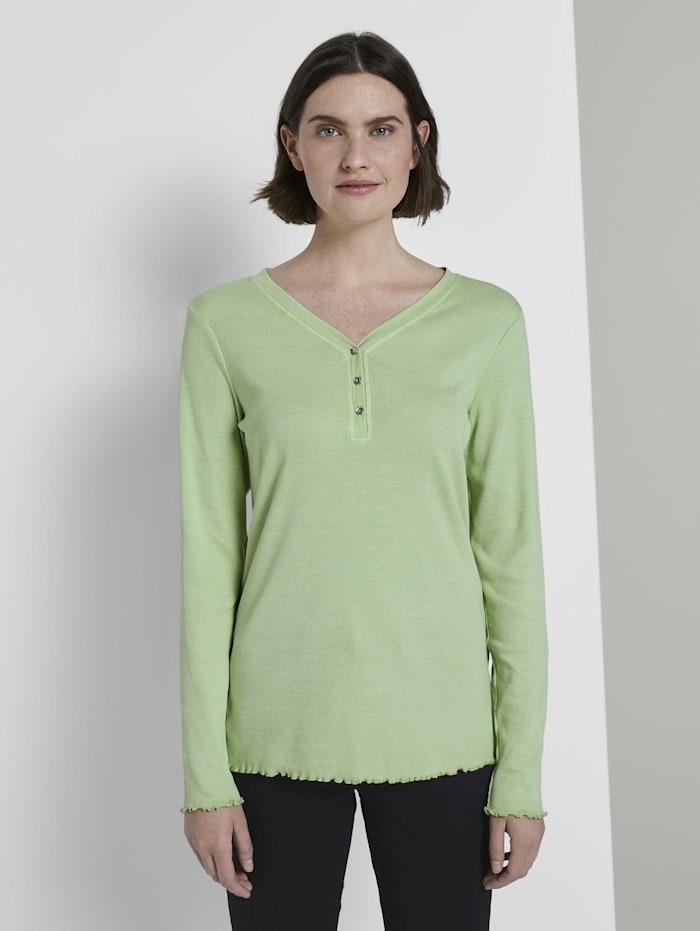 tom tailor - Langarm Henley-Shirt in Ripp-Optik  light pistachio green