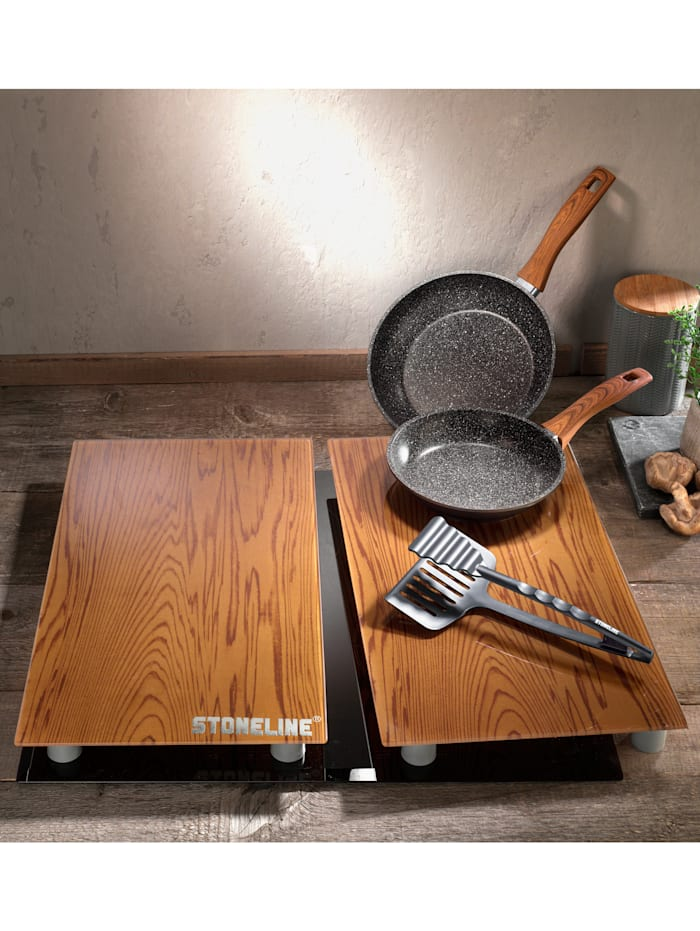 5tlg. STONELINE® Kochset in Holzoptik Stoneline schwarz/braun