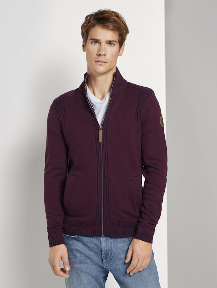 tom tailor - Melierte Strickjacke mit Stehkragen  Gipsy Purple