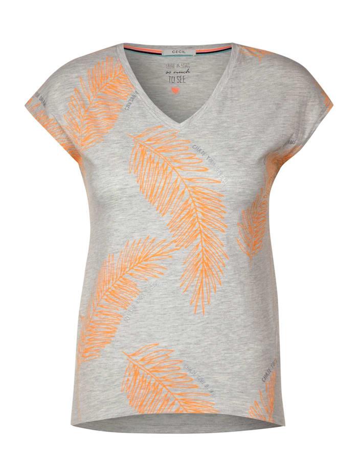 cecil - T-Shirt mit Blättermuster  off white melange
