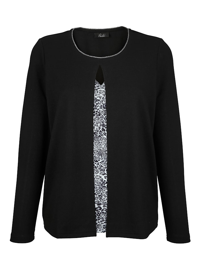 2 in 1 Pullover Paola Schwarz Silberfarben