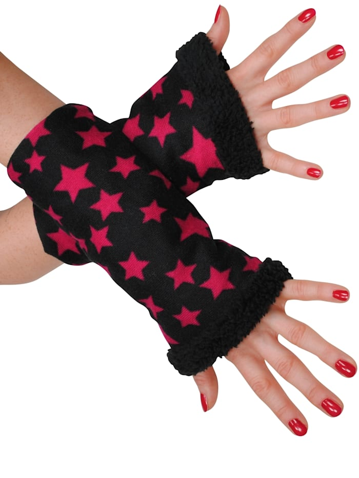 simone erto - Stulpen Sterne gefüttert A kuschelig warm gefütterte Armstulpen  schwarz/pink