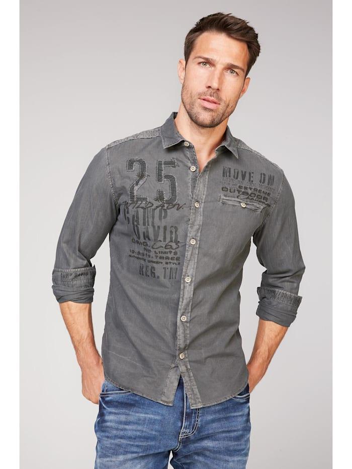 camp david - Hemd mit Webstreifen und Label-Applikationen  stone brown