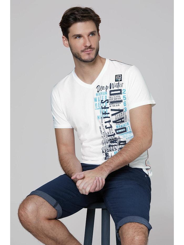 camp david - T-Shirt mit V-Neck, Prints und Stickereien  new white