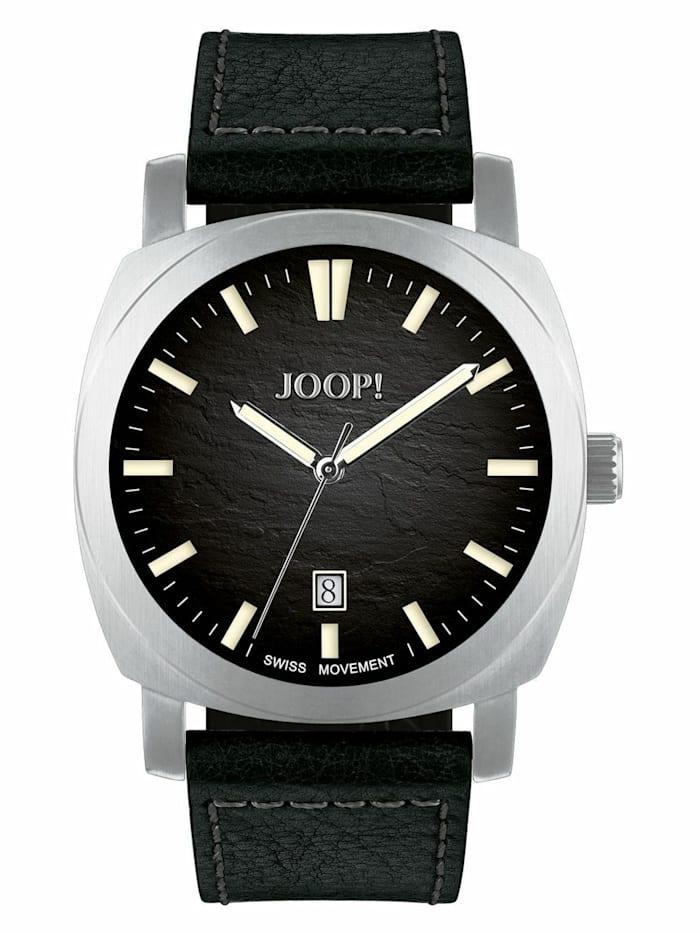 joop! - Quarzuhr für Herren, Edelstahl, Lederband schwarz  Schwarz