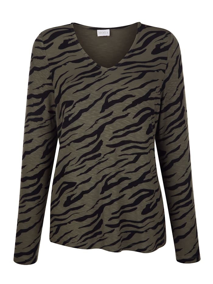 Shirt MONA Kaki::Zwart