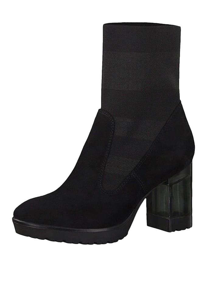 tamaris - 1-25304-23 012 Damen Stiefelette High Heeled Ankle Boot Black Stripe Schwarz mit TOUCH-IT Sohle und  Black Stripe