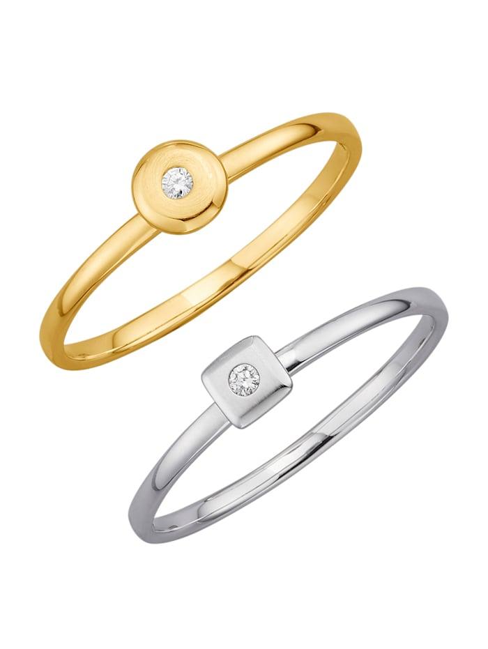 Image of 2tlg. Ring-Set mit Diamanten Amara Highlights Gelbgoldfarben::Weißgoldfarben