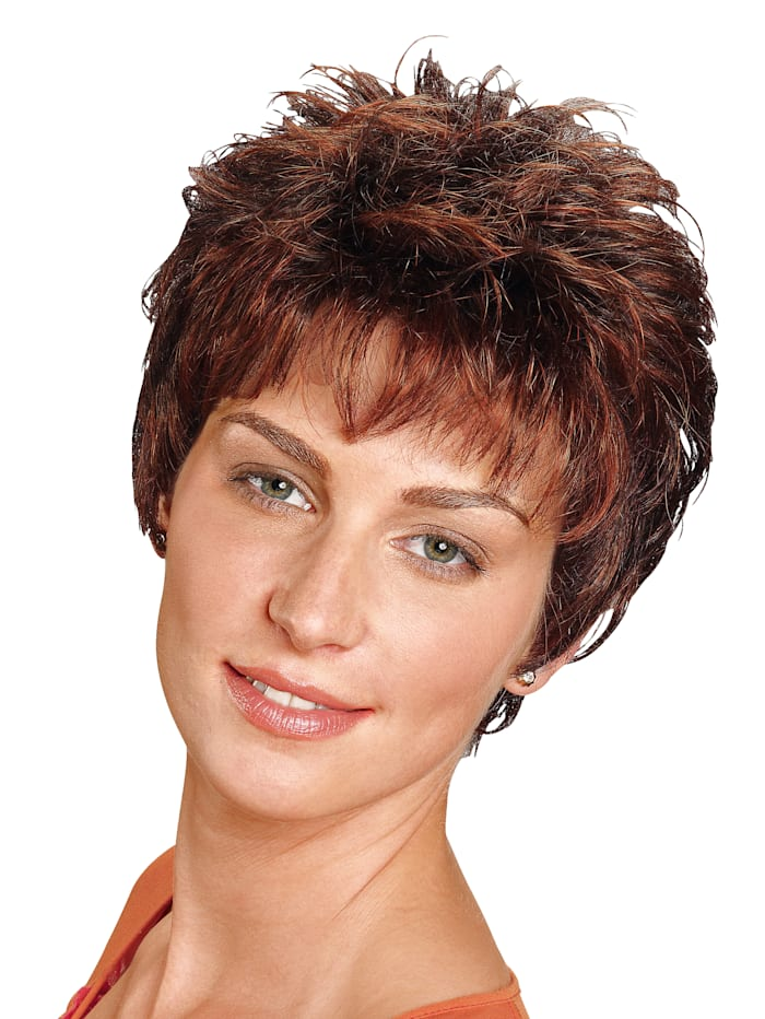 Pruik 'Peggy' Lofty middenbruin/kastanjebruine highlights