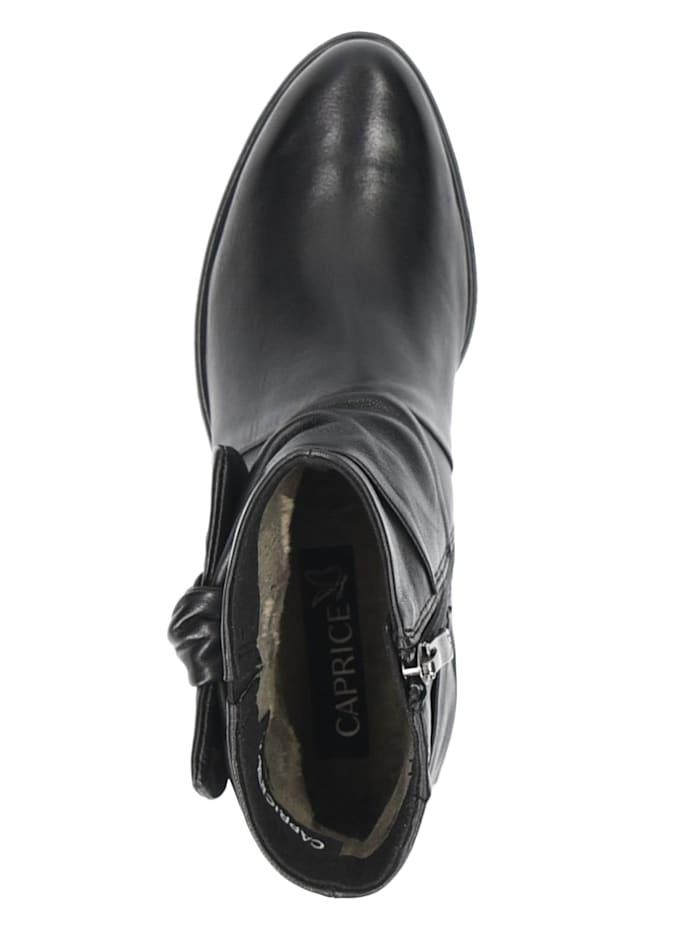 caprice - Damen Leder Siefelette Ankle Boot 9-25360 040 Black Soft Nap Schwarz  Black Soft Nap