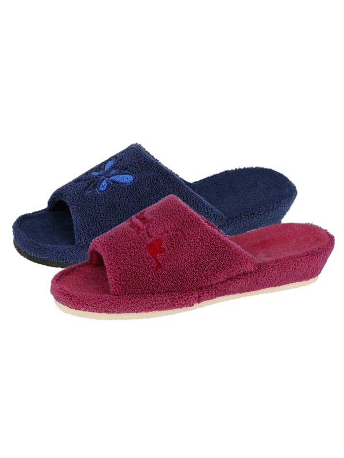 Pantoffels - 2 paar Belafit Bordeaux::Blauw