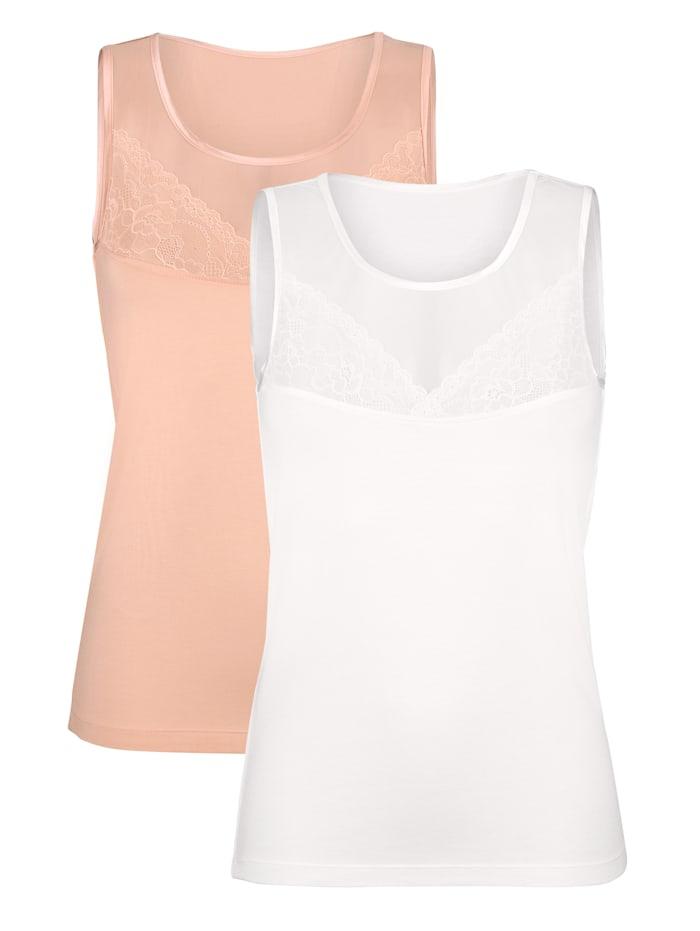 Chemisettes Harmony 1x abricot, 1x blanc