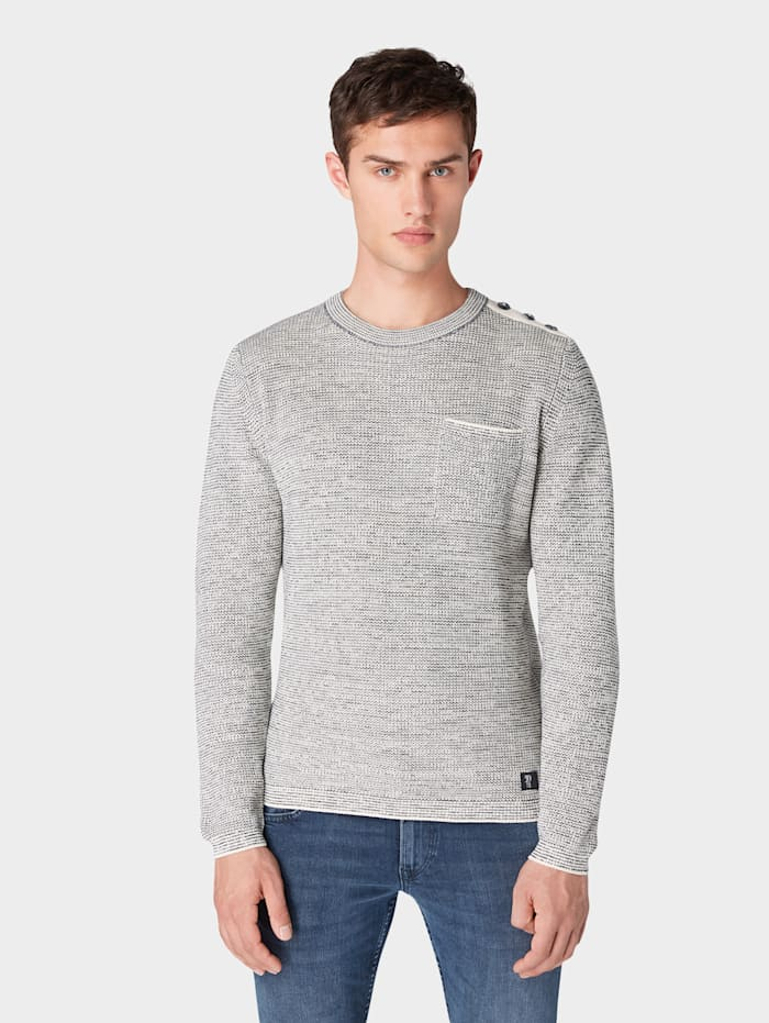 tom tailor denim - Pullover mit Brusttasche  greige grindle stripe