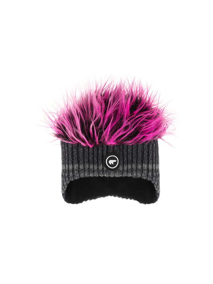 eisbär - Lustige, freche Ohrenmütze   Grafitgrau/Pink