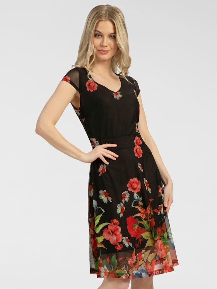 apart - Kleid mit Blumendruck  schwarz