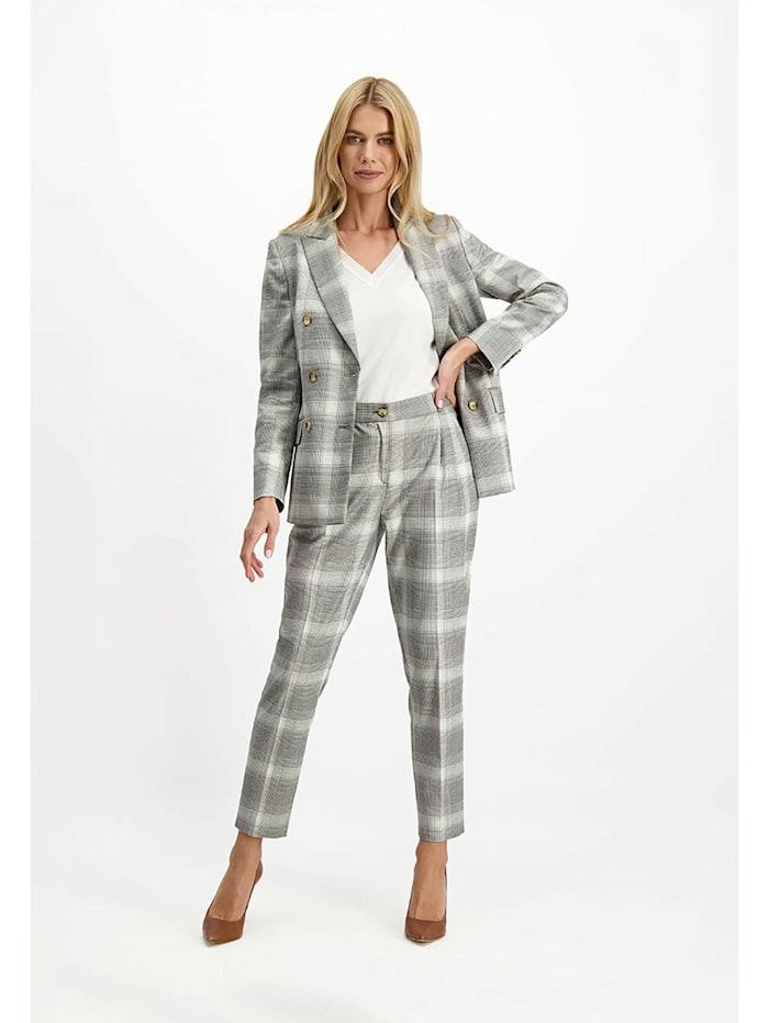 lavard - Hose mit zarten Bundfalten  grau-weiß