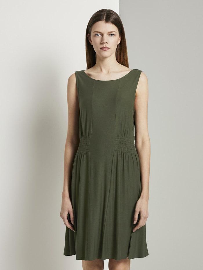 tom tailor denim - Jersey-Minikleid mit Smocking-Detail  Dusty Rifle Green