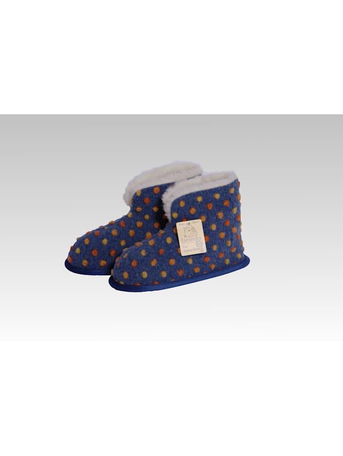 Heimschuhe Hausschuhe Boots Wolle Noppen blau Linke Licardo blau